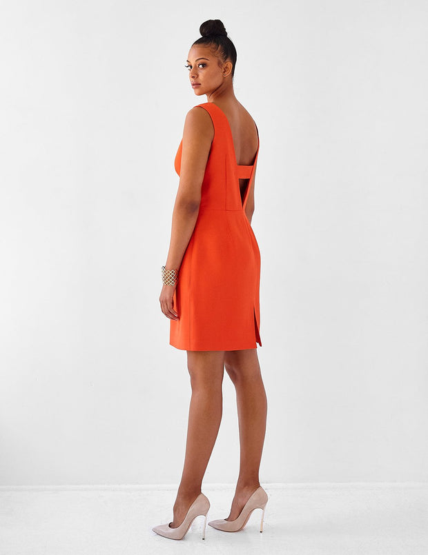 Ava James NYC | Berlin Dress Burnt Orange Sleeveless Backless Back Cut Out Formal Work Dress