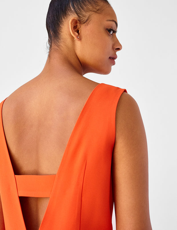 Ava James NYC | Berlin Dress Burnt Orange Sleeveless Backless Back Cut Out Formal Work Dress back view close up