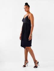 Ava James NYC New York Silk Slip Dress with asymmetric draped hem and spaghetti straps size 8 size 10 size 12 size 14 size 16 in Black side view