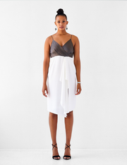 Ava James NYC New York Slip Dress with asymmetric draped hem and spaghetti straps size 8 size 10 size 12 size 14 size 16