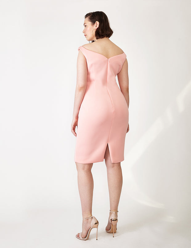 Ava James NYC Paris Dress in Blush Pink Off the Shoulder Neoprene size 8 back view