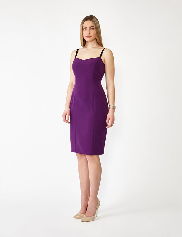 Ava James NYC | Vegas Tank Stretch Dress in Italian Crepe with Black Adjustable Straps in Purple front view