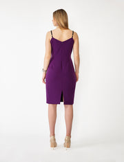 Ava James NYC | Vegas Tank Stretch Dress in Italian Crepe with Black Adjustable Straps in Purple back view