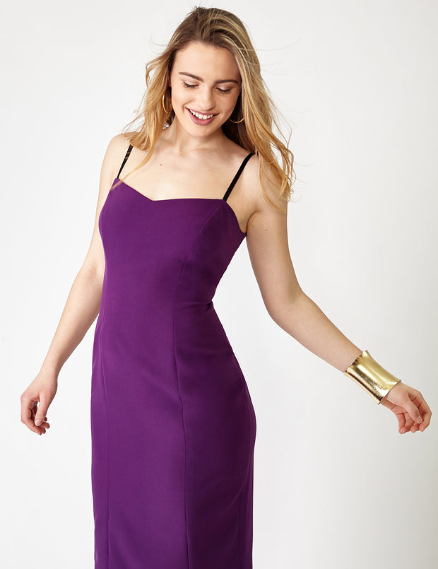 Ava James NYC | Vegas Tank Stretch Dress in Italian Crepe with Black Adjustable Straps in Purple front view close up