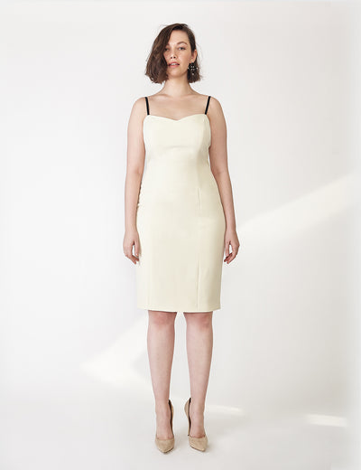 Ava James NYC | Vegas Tank Dress in Ivory White in Italian Stretch Crepe with Black Adjustable Straps and Back Zip front view