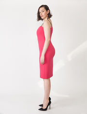 Ava James NYC Vegas Tank Dress with Black Adjustable Straps in Fuchsia side view