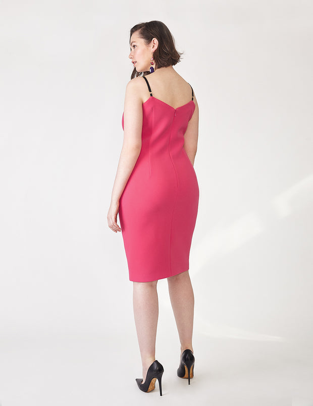 Ava James NYC Vegas Tank Dress with Black Adjustable Straps in Fuchsia back view