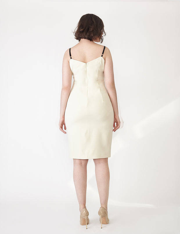 Ava James NYC | Vegas Tank Dress in Ivory White in Italian Stretch Crepe with Black Adjustable Straps and Back Zip back view