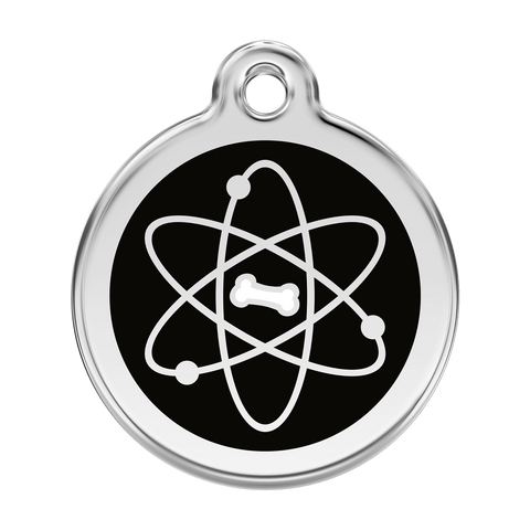Red Dingo Stainless Steel & Enamel Atom Dog ID Tag