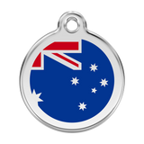 Red Dingo Stainless Steel & Enamel Australian Flag Dog ID Tag