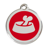 Red Dingo Stainless Steel & Enamel Bone In A Bowl Dog ID Tag