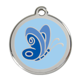 Red Dingo Stainless Steel & Enamel Blue Butterfly Dog ID Tag