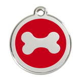 Red Dingo Stainless Steel & Enamel Dog Bone Dog ID Tag