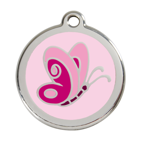 Red Dingo Stainless Steel & Enamel Pink Butterfly Dog ID Tag