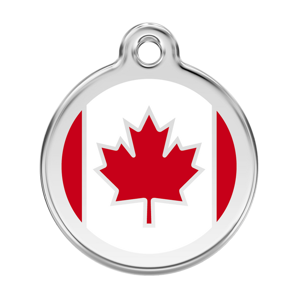 Red Dingo Stainless Steel & Enamel Canadian Flag Dog ID Tag