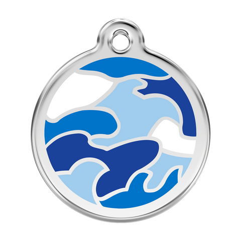 Red Dingo Stainless Steel & Enamel Blue Camouflage Dog ID Tag