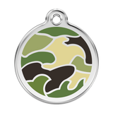 Red Dingo Stainless Steel & Enamel Green Camouflage Dog ID Tag