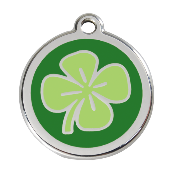 Red Dingo Stainless Steel & Enamel Green Clover Dog ID Tag