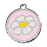 Red Dingo Stainless Steel & Enamel Daisy Dog ID Tag