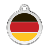 Red Dingo Stainless Steel & Enamel German Flag Dog ID Tag