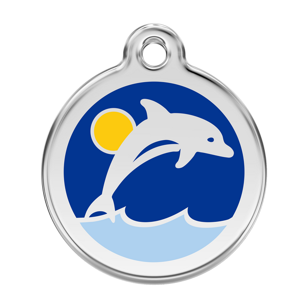 Red Dingo Stainless Steel & Enamel Dolphin Dog ID Tag