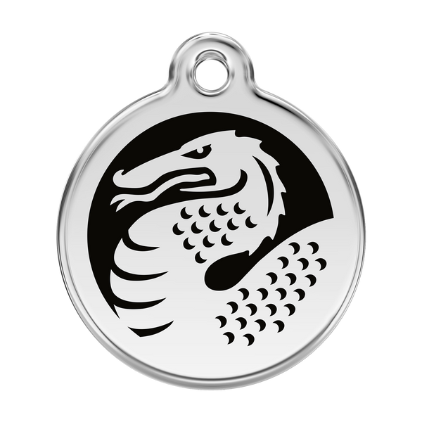 Red Dingo Stainless Steel & Enamel Black Dragon Dog ID Tag