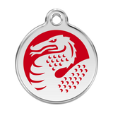 Red Dingo Stainless Steel & Enamel Red Dragon Dog ID Tag