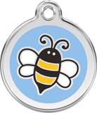 Red Dingo Stainless Steel & Enamel Bumble Bee Dog ID Tag - Light Blue