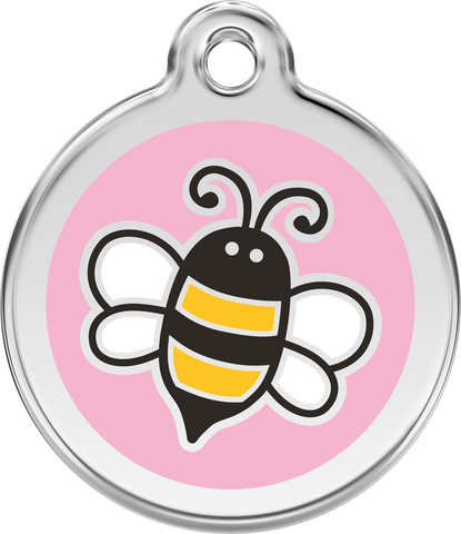 Red Dingo Stainless Steel & Enamel Bumble Bee Dog ID Tag - Pink