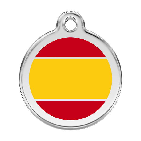 Red Dingo Stainless Steel & Enamel Spanish Flag Dog ID Tag