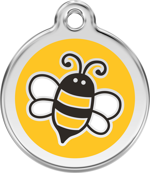 Red Dingo Stainless Steel & Enamel Bumble Bee Dog ID Tag - Yellow