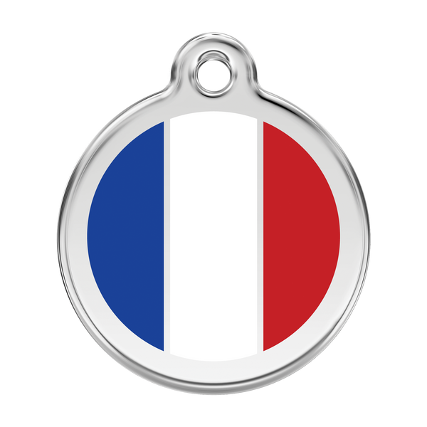 Red Dingo Stainless Steel & Enamel French Flag Dog ID Tag