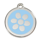 Red Dingo Stainless Steel & Enamel Flower Dog ID Tag
