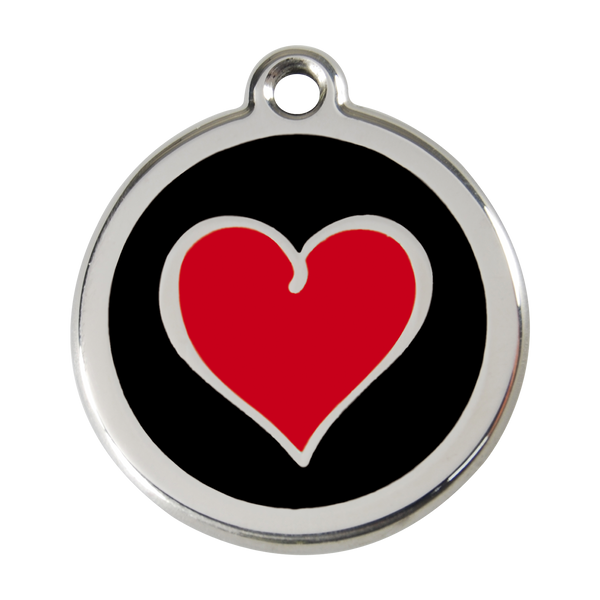 Red Dingo Stainless Steel & Enamel Black & Red Heart Dog ID Tag