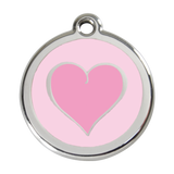 Red Dingo Stainless Steel & Enamel Two Tone Pink Heart Dog ID Tag