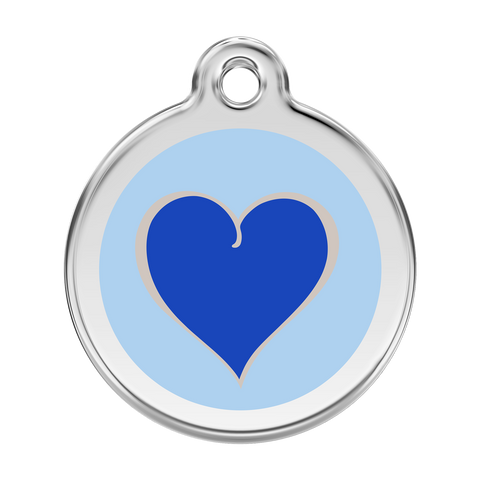 Red Dingo Stainless Steel & Enamel Blue Heart Dog ID Tag