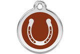 Red Dingo Stainless Steel & Enamel Horseshoe Dog ID Tag