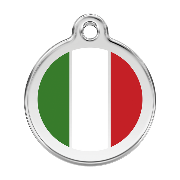 Red Dingo Stainless Steel & Enamel Italian Flag Dog ID Tag