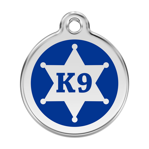 Red Dingo Stainless Steel & Enamel K9 Badge Dog ID Tag