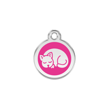 Red Dingo Stainless Steel Sleepy Kitty Cat ID Tag