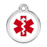 Red Dingo Stainless Steel & Enamel Medical Symbol Dog ID Tag