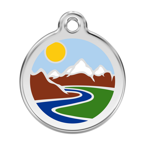 Red Dingo Stainless Steel & Enamel Mountains Dog ID Tag