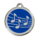 Red Dingo Stainless Steel & Enamel Music Notes Dog ID Tag