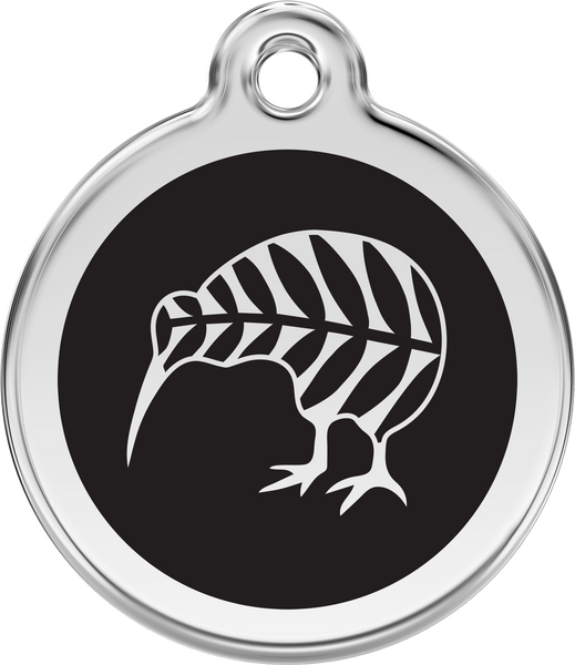 Red Dingo Stainless Steel & Enamel Kiwi Dog ID Tag