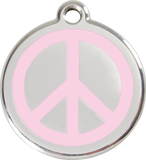 Red Dingo Stainless Steel & Enamel Peace Sign Dog ID Tag