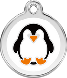 Red Dingo Stainless Steel & Enamel Penguin Dog ID Tag