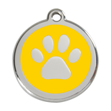 Red Dingo Stainless Steel & Enamel Paw Prints Dog ID Tag