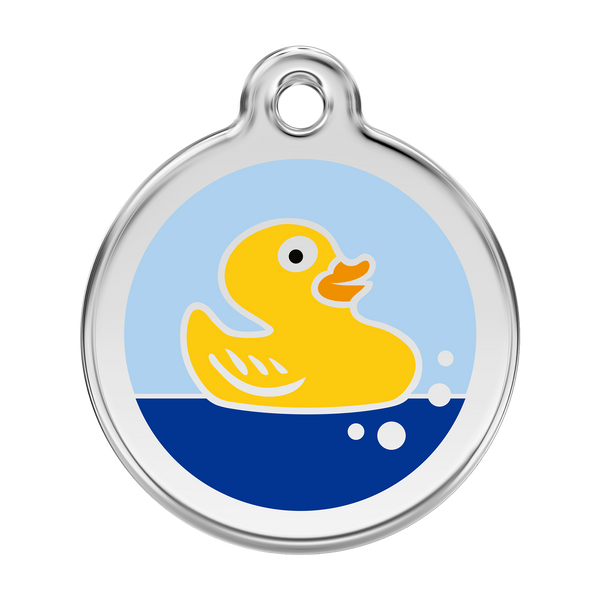 Red Dingo Stainless Steel & Enamel Rubber Ducky Dog ID Tag
