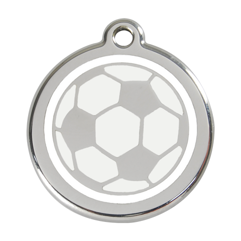 Red Dingo Stainless Steel & Enamel Soccer Ball Dog ID Tag