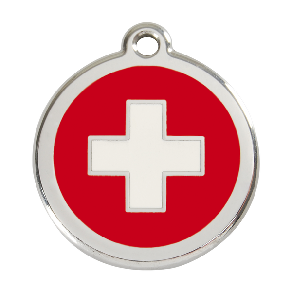 Red Dingo Stainless Steel & Enamel Swiss Cross Dog ID Tag